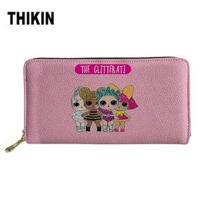 Thikin Women Wallets Pink Color Five Girls PU Leather Long Purse Lady Kawaii pattern Card Holders Coin Pocket Zipper