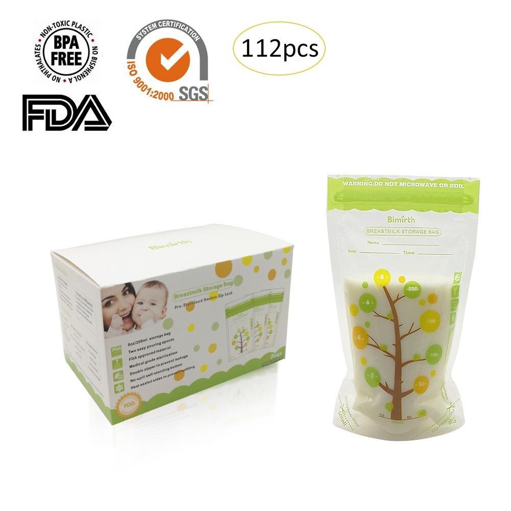 112PCS 235ml Milk Freezer Bags Mother Milk Baby Food Storage Breast Milk Storage Bag Baby Safe Feeding Bags Feeding