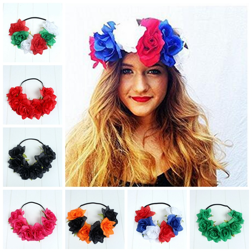 Wholesale 4pcs Fabric Flower Elastic Headband WOmen Halloween Floral Garlands Wreath Crown Party Horse Race Game Flower Headwear