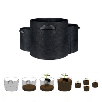 1 2 3 5 7 gallon green plant grow bag non woven fabric vegetable trees flower container cup nursery garden supplies flowerpot 1/2/3//5/7/10 Gallon Non-woven Fabrics Planting Green Bag for Garden Pot Culture Flower Black Grow Bag Green Seedlings