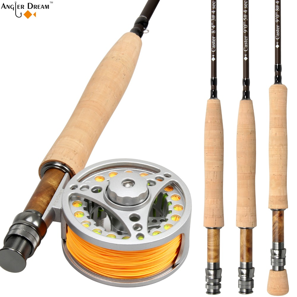 Fly Rod Combo 8.3/9FT Carbon Fiber Fly Fishing Rod 3/4 5/6 7/8WT Aluminum Fly Fishing Reel and Line цена и фото