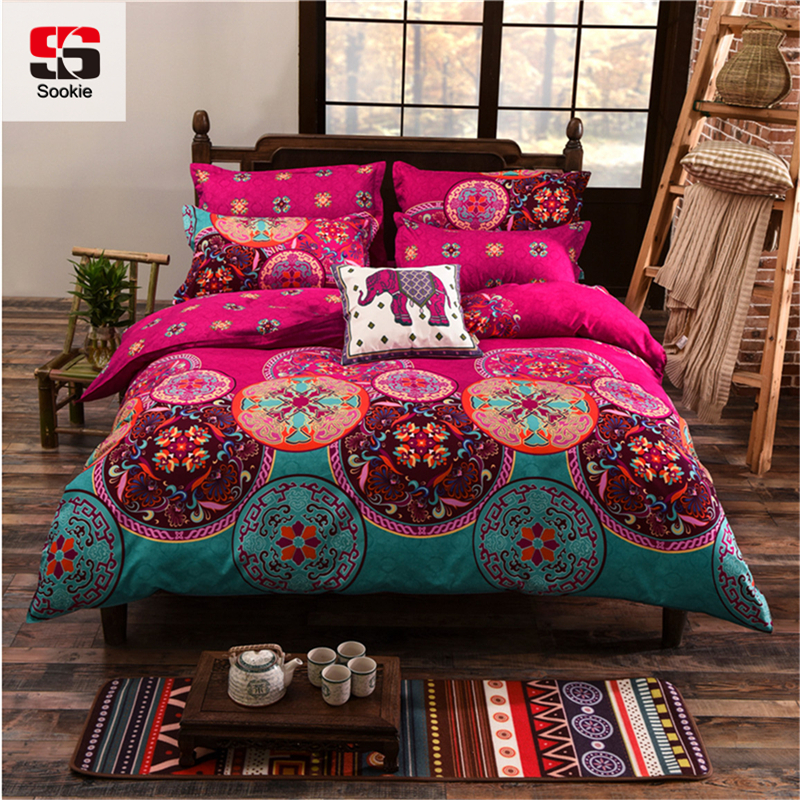 Sookie Full/Queen/King Size Bedding Sets Bohemian Style Reversible 4pcs  Duvet Cover Sets