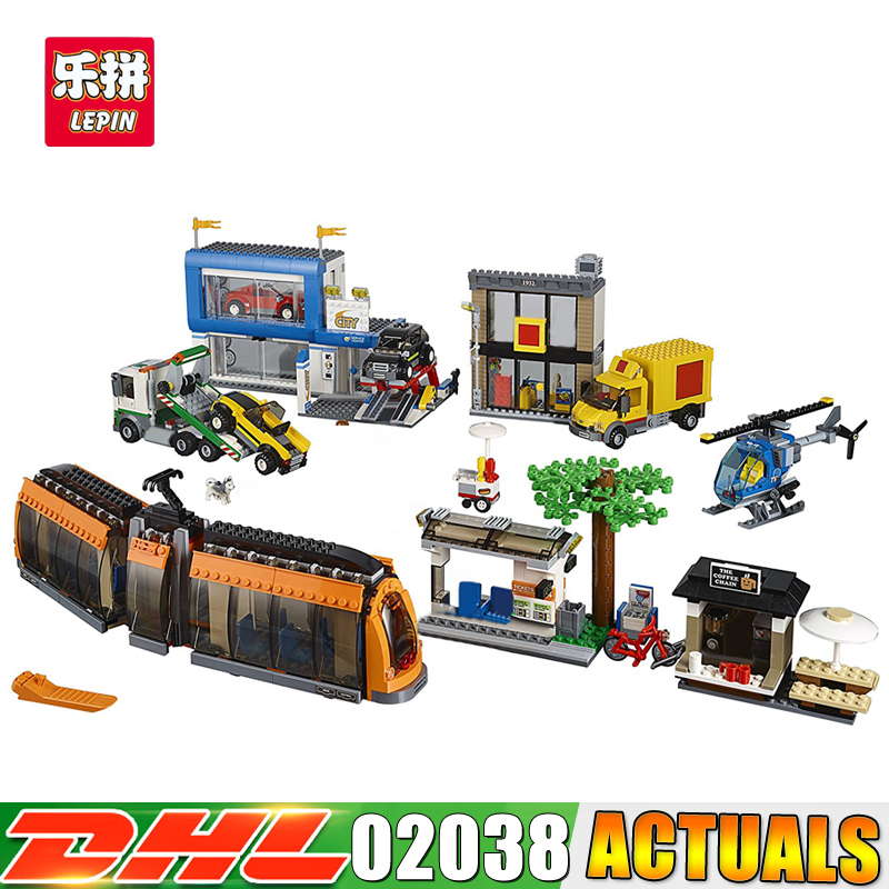 2017 DHL Lepin 02038 1767Pcs Geuine City Series The City Square Set Children Educational Building Blocks Bricks Toys Gifts dhl lepin city series 02020 police station 02038 city square educational building blocks bricks model toys 60141 60097