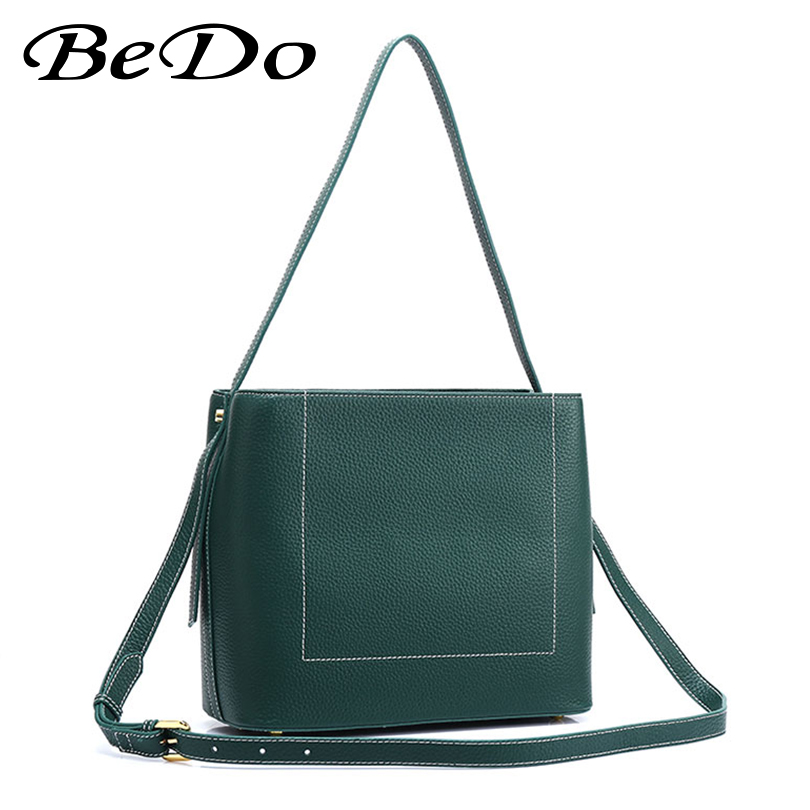BeDo Women Messenger Bag Solid Color Shoulder Bag Large Capacity Ladies Casual Tote Square Genuine Cow Leather Bolsa Feminina brand designer large capacity ladies brown black beige casual tote shoulder bag handbags for women lady female bolsa feminina