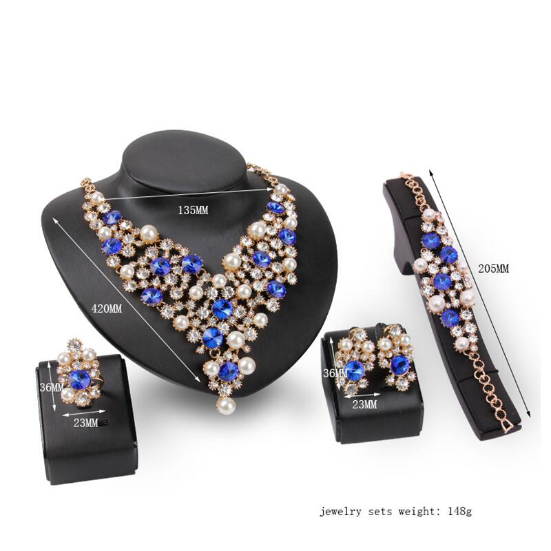 New Austrian Crystal Pearl Necklace Earrings Bracelet Ring Charming Jewelry Sets Bridal Jewelry Amazing Design for Women Wedding viennois new blue crystal fashion rhinestone pendant earrings ring bracelet and long necklace sets for women jewelry sets