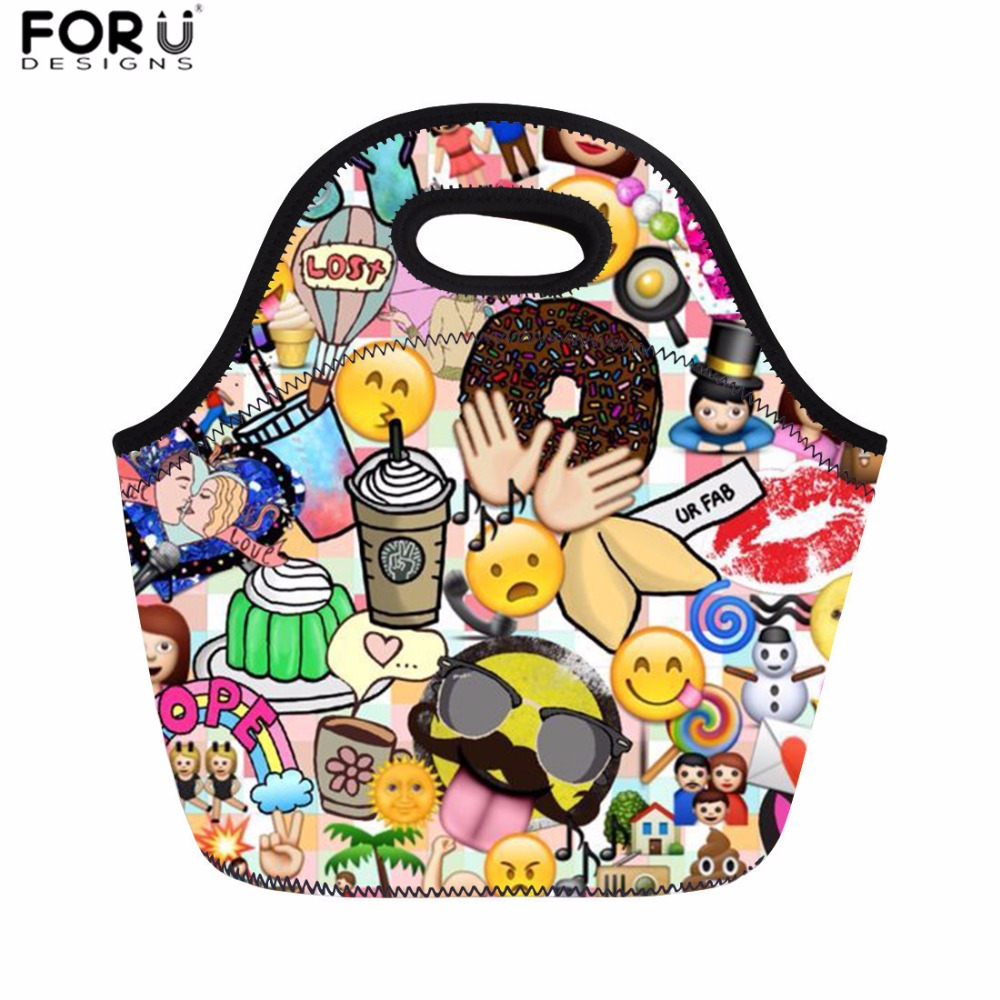 FORUDESIGNS Lunch Bags for Women Funny Emoji Print Thermal Food Bag Kids Picnic Bag Fashion Cooler Meals Sacola Thermo Case 2018