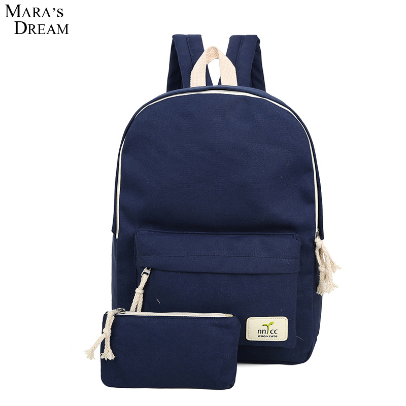 Mara's Dream Candy Color Backpack Female Canvas Preppy Style Cute School Bags For Teenagers Mochila Militar Travel Bag primary school students school bag 3 6 candy color preppy style backpack