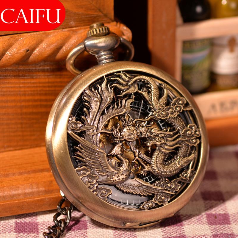 Prix pour Vintage Chinses Flying Dragon et Phoenix Pendentif Bronze Tone Câble Chaîne Montre De Poche Collier Mécanique Main Vent Cadeau Montre Chaude