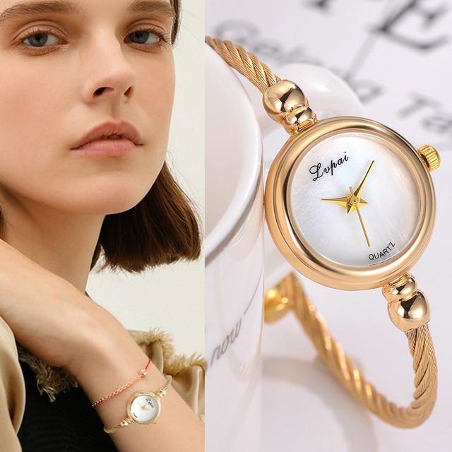 Lvpai Fashion Women Bracelet Watch Luxury Top Brand Stainless Steel Gold Silver Ladies Wristwatch Female Clock Quartz Watch Gift