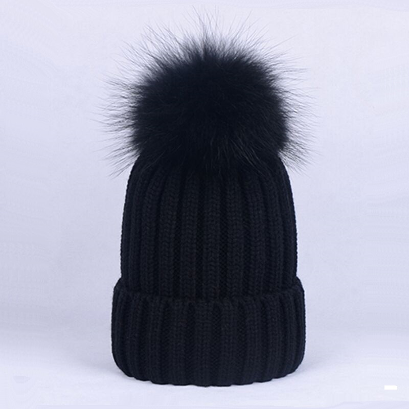 Thick Warm Curled Knitted Hats with Dyed Raccoon Fur Pom pom Men Women Casual Winter Knitting   Skullies     Beanies   Caps
