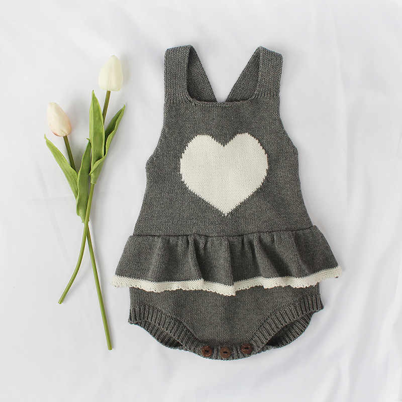 5413152664aa ... New 2018 Baby Girls Rompers Handmade Wool Knitting Love Knitted Rompers  Baby Boy Girls Winter Jumpsuit ...
