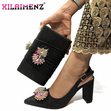 Black Latest Nigerian Autumn Sandals Shoes And Bag To Match Set For Party Fashion Rhinestone Pumps Shoes And Bag Set for Party