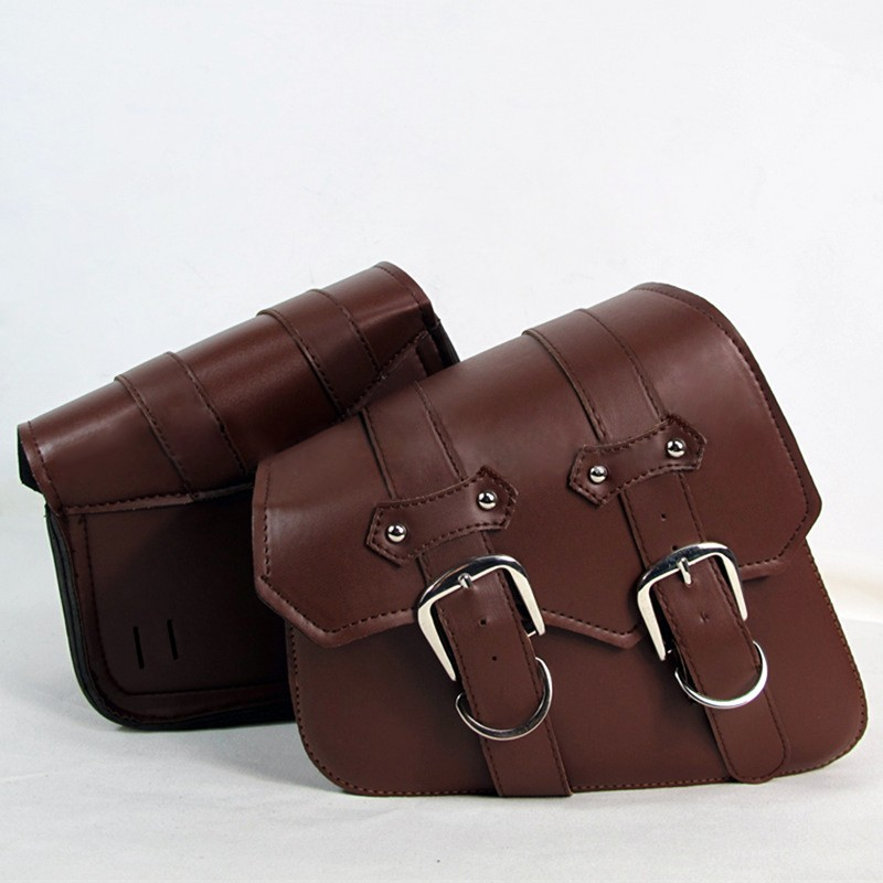 1 Pair Motorcycle Saddle Bags Side Storage Leather Saddlebag Motorbike Side Tool Bag For Harley Sportster XL883 XL1200