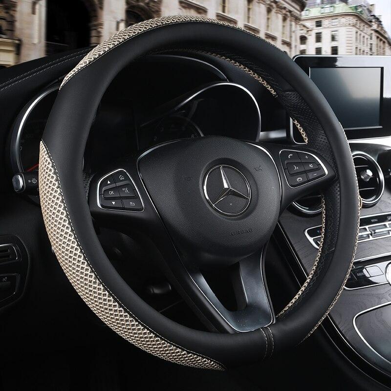 2017 nachrichten Leder Auto Lenkradabdeckung rutschfeste Belüftung für Mercedes Benz B180 2012 c200 E200 E320 E350 s350 s600