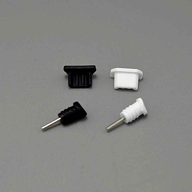 10 juegos (5 negro + 5 blanco) enchufes a prueba de polvo conector de auriculares de 3,5mm + conector de puerto de carga Micro USB para teléfono Android Samsung Xiaomi