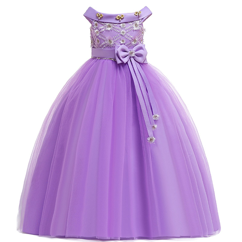 2019 Flower Girl Wedding Evening Girl Long Dresses For Party First Communion Princess Dress Kids Costume Ball Gown Prom Vestidos