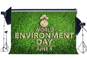 Image 1 - World Environment Day Backdrop 5th June Protect the Earth Backdrops Green Grass Meadow Nature Spring Background