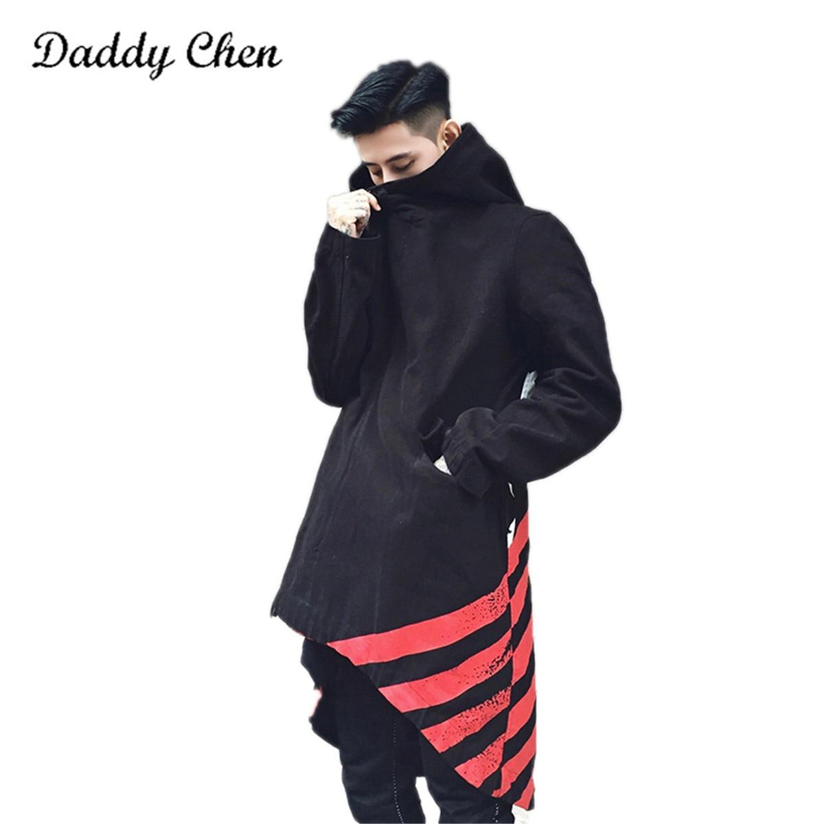 Fashion Winter Men Shawl Trench Headwear Hooded Long Sleeve Jackets Windbreaker Jacket Coat for Mens Women