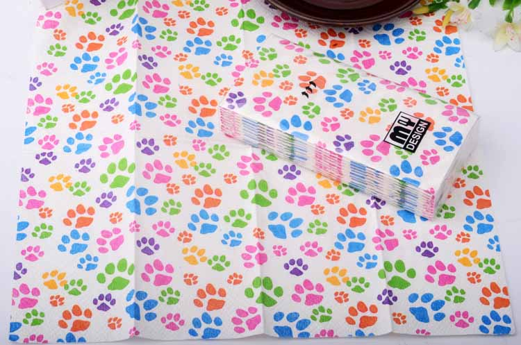 5packs 50pcs Colorful cute Dog Footprint Napkin Paper Handy Pocket toilet tissue coffee hotel wedding party decoration LUHONGPAR in Disposable Party Tableware from Home Garden