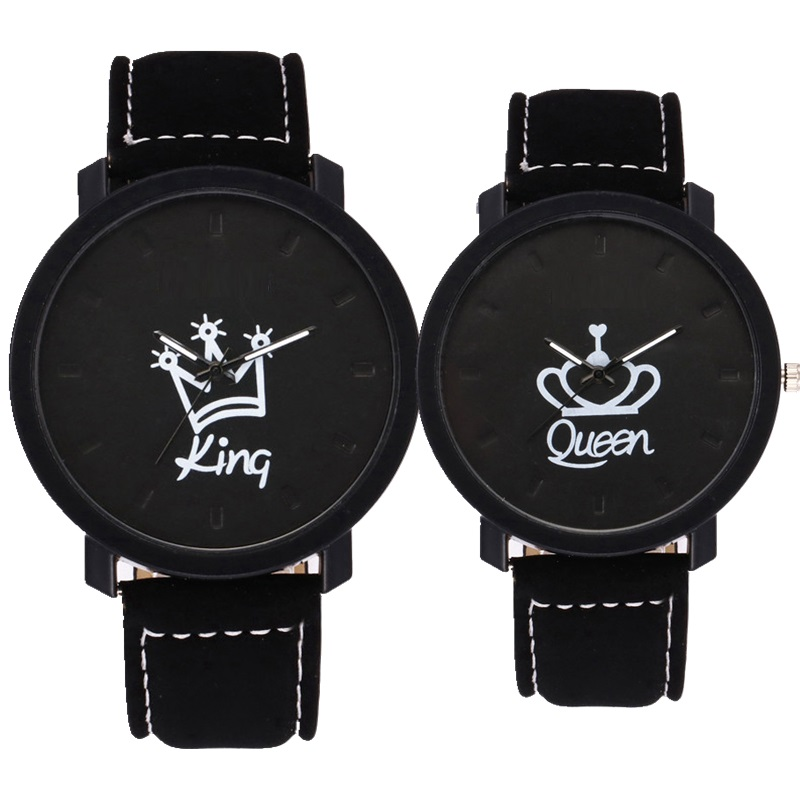 Fashion lovers couple king queen leather watch unisex mens women ladies crown casual students gift quartz wrist watches
