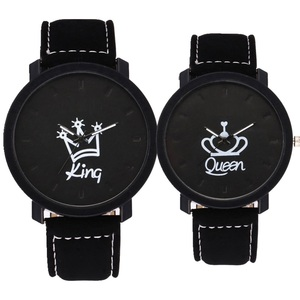 Image 2 - 10pcs/lot Fashion lovers couple king queen leather watch unisex mens women ladies crown casual students gift quartz wrist watch