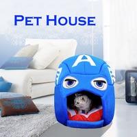 Marvel Dog Bed Pet Sleeping House Captain America Nest Winter Warm Kennel Dog Cat Yurt Cat Puppy Cushion Mat Cat Supplies D30