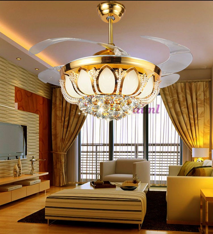 Ceiling Fans K9 Crystal Electroplate Golden Luxurious Led
