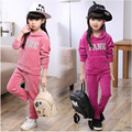 Conjunto de roupas meninas do bebê de varejo de Moda infantil roupas de outono conjunto de veludo casual criança twinset esportes dos miúdos conjunto