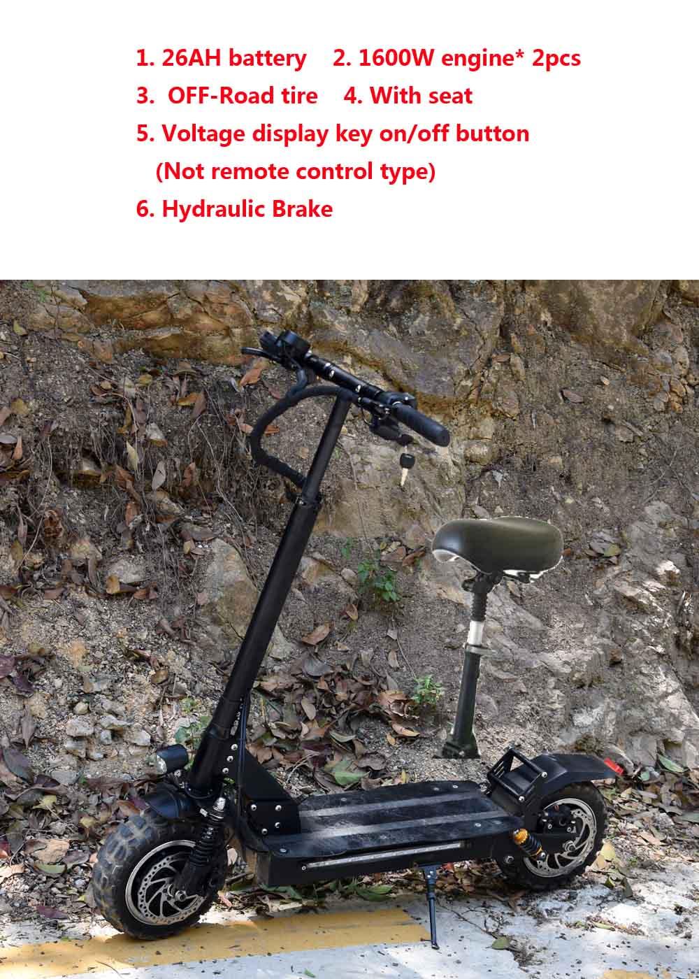 Trottinette électrique avec 60 V/3200 W Forte Puissance Coup fat tire grand trottinette électrique s avec siège