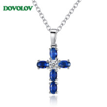 Fashion Blue Cubic Zirconia Party Cross Pendant Necklaces for Women Jewelry Necklaces Fashion Jewelry Gifts D5(China)