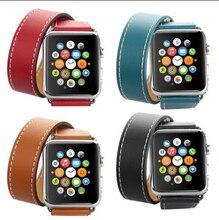 Lazo De Cuero Genuino de la alta calidad Para Apple Venda de Reloj Doble Gira 42mm Ajustable correa de Reloj de cuero Magnética Para Apple 38mm