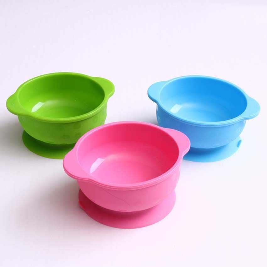 Детская миска для кормления обучение ужин посуда дети присоска чаша силикон сплошной цвет детская тарелка обучение еда чаша миски