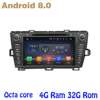 Android 8.0 car dvd gps for toyota prius 2009 2013 with Octa core PX5 4G RAM 32G ROM wifi 4g usb auto Multimedia
