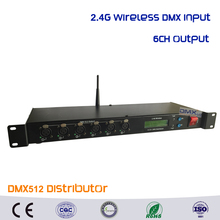 DHL Free shipping 2.4G Wireless dmx receiver and 6CH DMX Splitter DMX512 Light Controller Stage Light Signal Amplifier Splitter