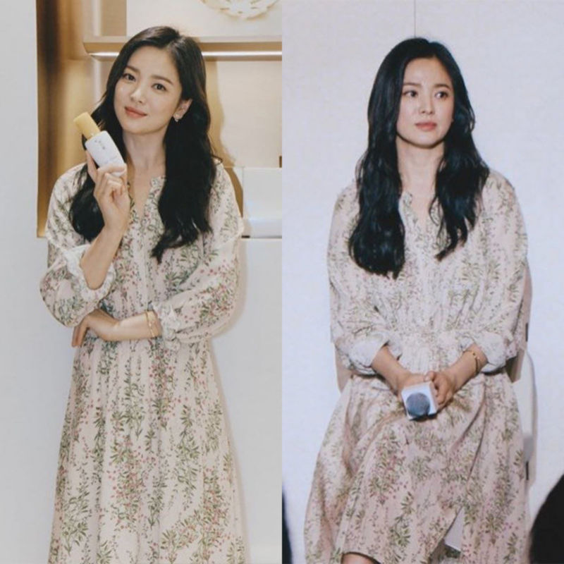 2019 Dress Sexy Song Hye-kyo Celebrity Vintage Print V Neck Women Full Fashion Pink Night Club Body con Party Dresses Wholesale image