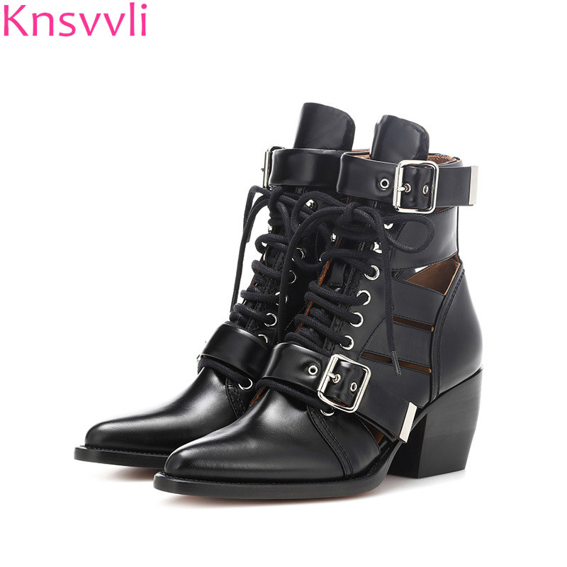 Knsvvli Pointed Toe Studded Ankle Boots Women Chunky High heels Shoes Genuine Leather Summer Gladiator boots