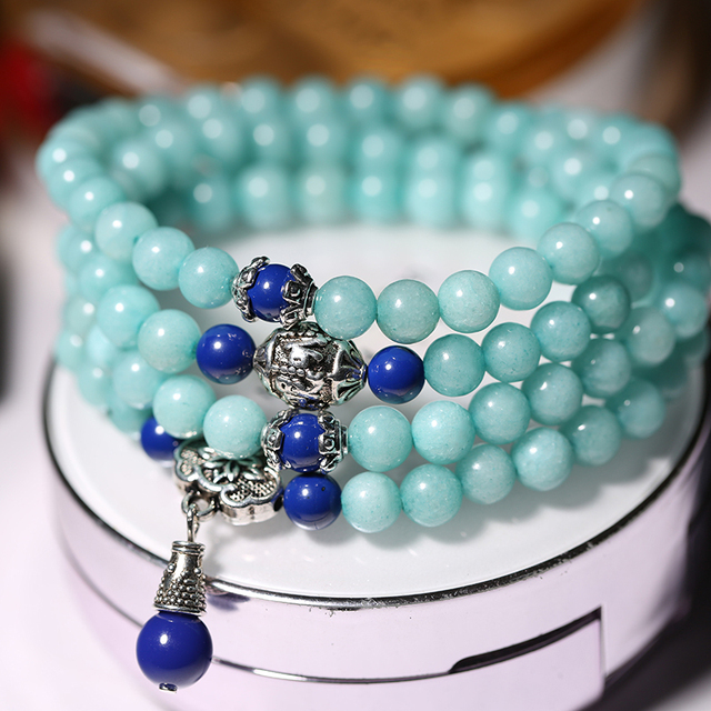 2019 Hot Sale in China Natural Amazonite Stone 108 Beads Bracelet Fortune Healing Luckly Decoration