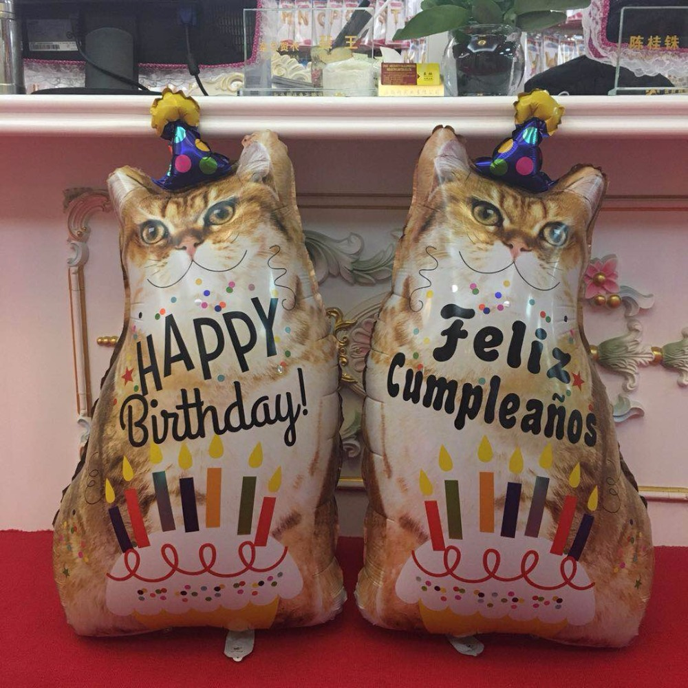 1pcs Happy Birthday Balloon Party Multicolor Foil Cat Animals Balloon Thickening Pear Baloes Decoration Birthday DIY Cake Sweet in Ballons Accessories from Home Garden