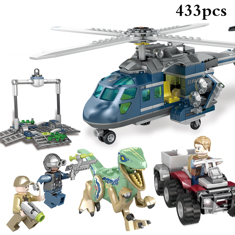 433pcs Jurassic World Park Helicopter Dinosaur Figures Blocks Compatible Legoed Jurassic Dinosaur DIY Bricks Child Boy Toys Gift 5 pack jurassic building blocks park dinosaur toys jurassic world dinosaur toys 8pcs