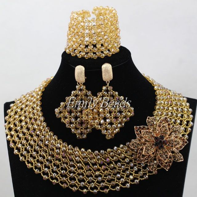 Plain Gold Crystal Beads Jewelry Set Costume Nigerian Wedding African Jewelry Set Bridal Choker Necklace Free Shipping ALJ495