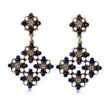 1 Pair Vintage Rhinestone Hollow Flower Drop Earrings For Women Charm Female Geometric Party Tassel Pendant Earring Jewelry цена в Москве и Питере