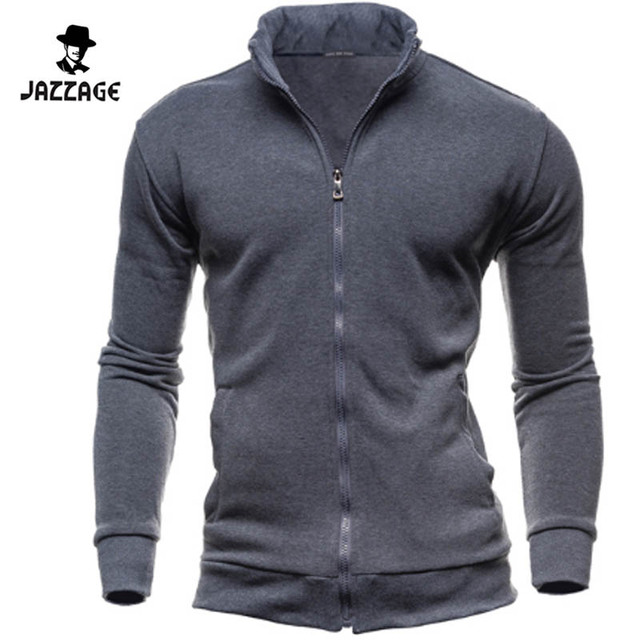 NEW 2016 Men Autumn Slim Hoodies Long Sleeve Solid Jacket Casual Cardigan Zipper Sweatshirt Plus Size 3XL 11263