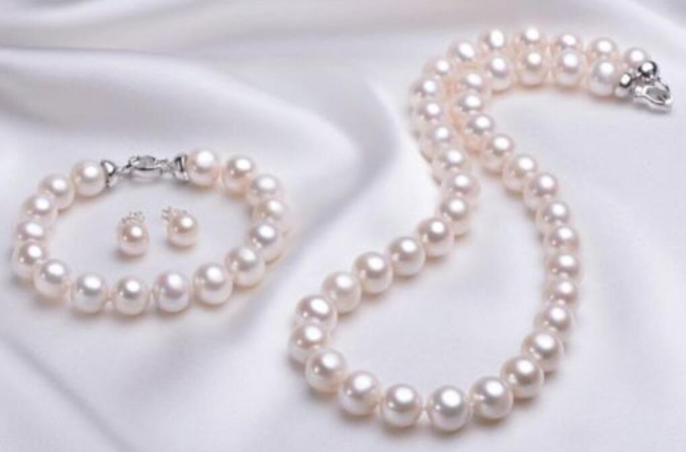Wholesale price 16new ^^^^^^ noblest 10-11mm AAA Akoya White Pearl Necklace & Bracelet Earring wholesale price 16new ^^^^ewellery green stone inlay zircon earring pendant ring sets
