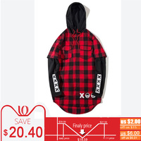 Black Red Flannel Plaid Men Hoodie Street Wear Style Sweatshirts Hip Hop Curved Hem Oversized Long Hoodie Harajuku Streetwear