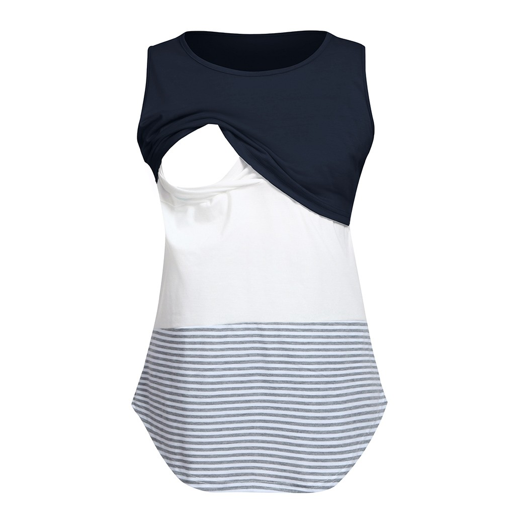 Women Maternity Casual T Shirt Sleeveless Breastfeeding Clothes Striped Patchwork Nursing Top Casual Pregnant T Shirt Clothes(China)