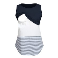 7687b8ef6 Las mujeres maternidad camiseta Casual sin mangas ropa de lactancia rayas  Patchwork de enfermería Top Casual embarazada T camisa.