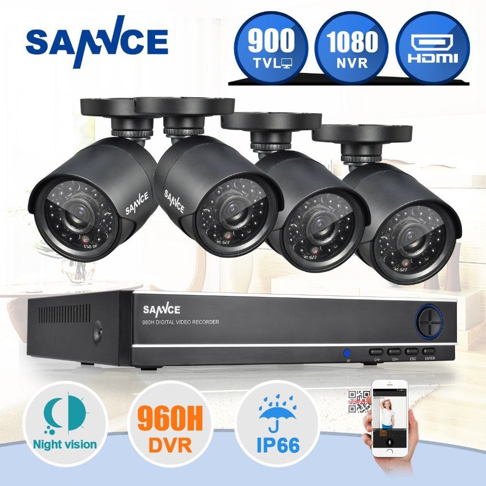 SANNCE 8CH CCTV font b Security b font System 4PCS 900TVL Weatherproof Night Vision IR Cut
