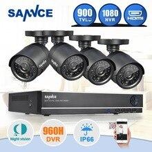 SANNCE 8CH CCTV de Seguridad del Sistema 4 UNIDS 900TVL Impermeable de Visión Nocturna IR Cut CCTV Cámaras de Vigilancia de Vídeo Kit Para RU Stock