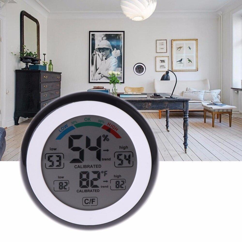 OOTDTY Nouveau LCD Affichage Numérique Thermomètre Intérieur Hygromètre Écran Tactile Indicateur de Température Humidité Moniteur Pour Le Ménage