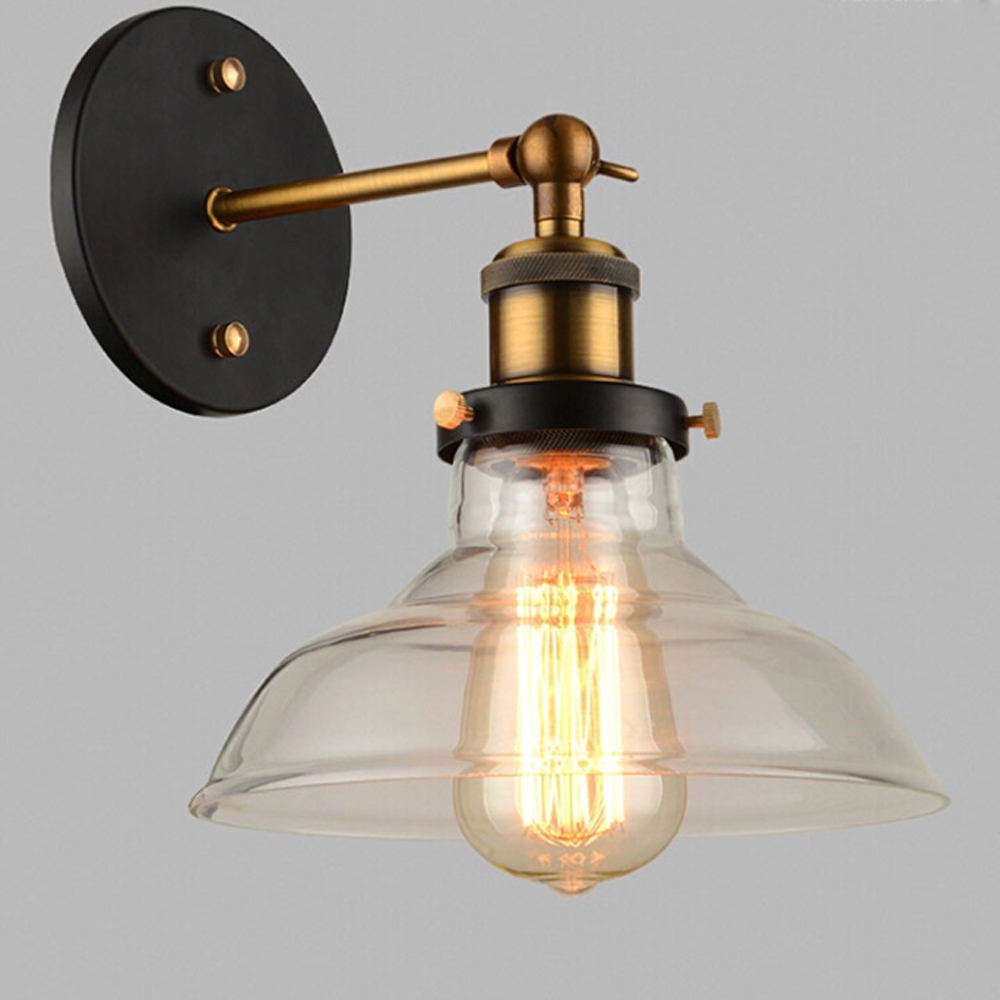 Vintage Glass Wall Lamps Retro Loft Wall Lights Russia Dining Room Modern Metal Wall Scones Clear Glass Lampshade E27 110V-220V wholesale price loft vintage industrial edison wall lamps clear glass lampshade antique copper wall lights 110v 220v for bedroom page 4 page 4